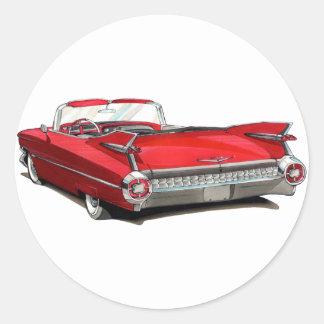 1959 Cadillac Red Car Round Sticker