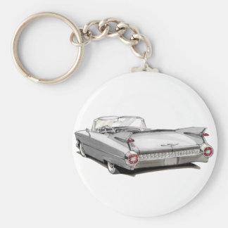 1959 Cadillac White Car Keychain