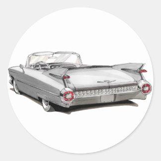 1959 Cadillac White Car Round Sticker