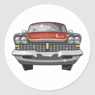 1959 Plymouth Fury Classic Round Sticker