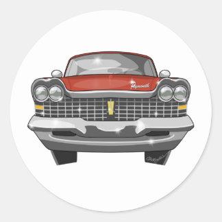 1959 Plymouth Fury Round Sticker