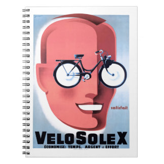 1959 Solex Powered Bicycle Advertising Poster Notebook