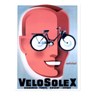 1959 Solex Powered Bicycle Advertising Poster Postcard