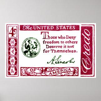 1960 Abraham Lincoln American Credo Poster
