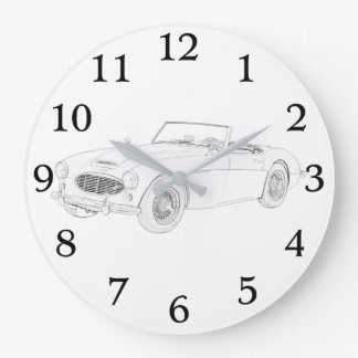 1960 Austin-Healey Black And White Drawing Large Clock