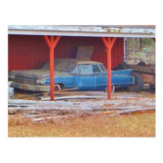 1960 BLUE SADAND DEVILLE Antique car Postcard