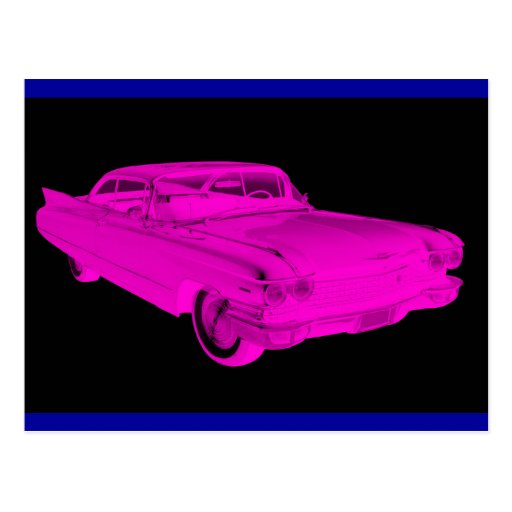 1960 Cadillac Luxury Car Pink and Black Pop Art Post Card