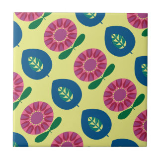 1960 Flowers in Pink, Blue and Yellow Ceramic Tile