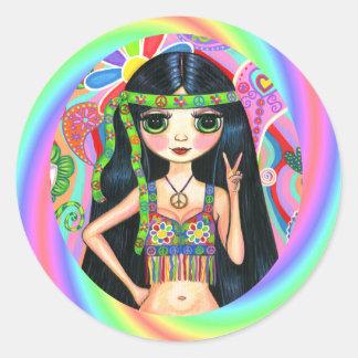 1960s, 1970s Peace Sign Rainbow Hippie Chick Classic Round Sticker