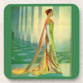 1960s beautiful lady in evening gown coaster