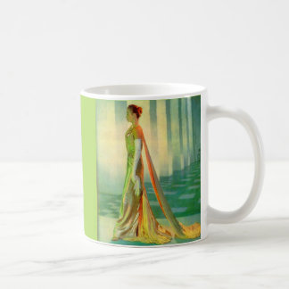 1960s beautiful lady in evening gown coffee mug