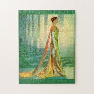 1960s beautiful lady in evening gown jigsaw puzzle