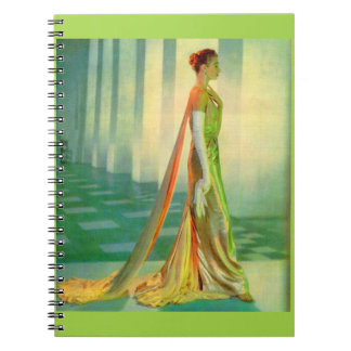 1960s beautiful lady in evening gown notebook