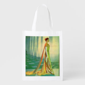 1960s beautiful lady in evening gown reusable grocery bag