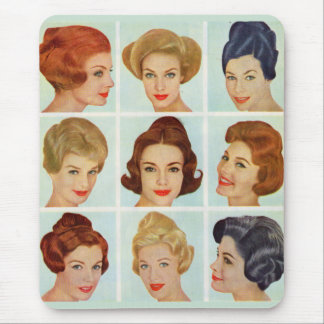1960s hairstyles grid mouse pad
