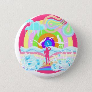 1960's Hippy Style Art 2 Inch Round Button