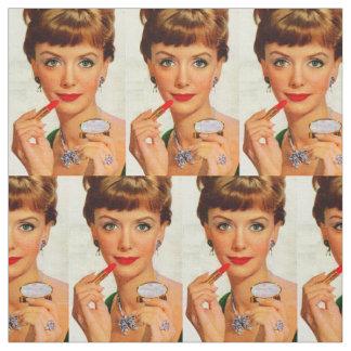 1960s lipstick lady print fabric