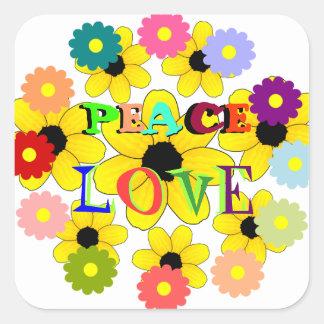 1960s, Peace and Love Square Sticker