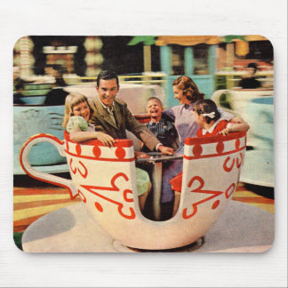 1960s teacup ride at the amusement park mouse pad
