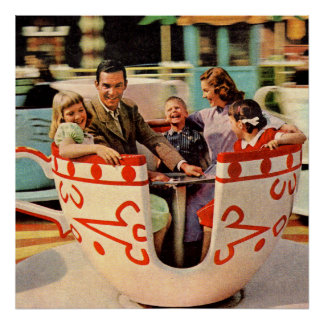 1960s teacup ride at the amusement park poster