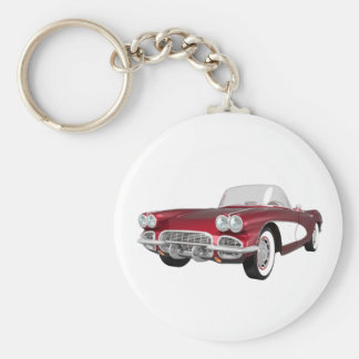 1961 Corvette C1: Candy Apple Finish: Basic Round Button Keychain