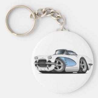 1961 Corvette White-Blue Car Basic Round Button Keychain