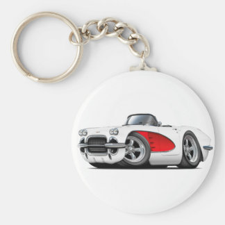 1961 Corvette White-Red Convertible Basic Round Button Keychain
