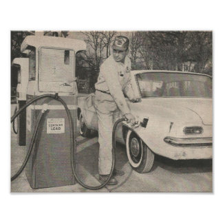 1961 Gas Station Attendant Poster