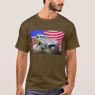 1962 Chevrolet Corvette And American Flag T-Shirt