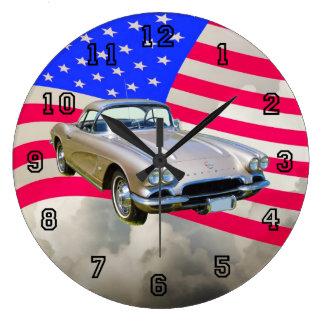 1962 Chevrolet Corvette And American Flag Wallclock
