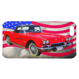 1962 Chevrolet Corvette With United States Flag Cover For iPhone 5C