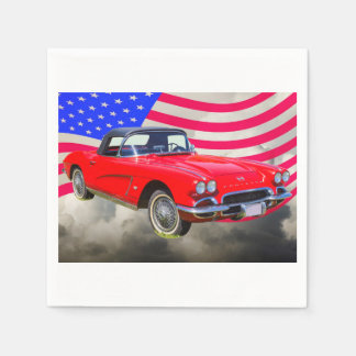 1962 Chevrolet Corvette With United States Flag Disposable Napkins