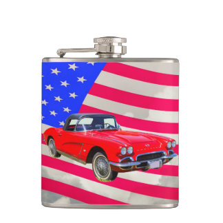 1962 Chevrolet Corvette With United States Flag Flask