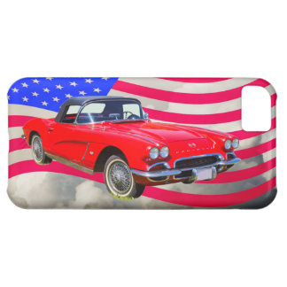 1962 Chevrolet Corvette With United States Flag iPhone 5C Cover