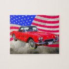 1962 Chevrolet Corvette With United States Flag Jigsaw Puzzle