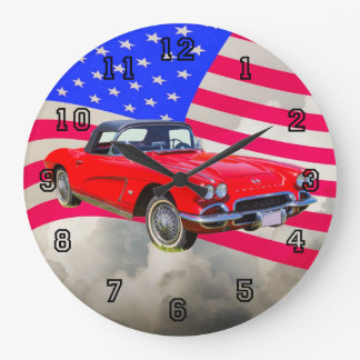 1962 Chevrolet Corvette With United States Flag Wall Clock