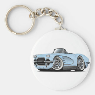 1962 Corvette Lt Blue Convertible Keychain