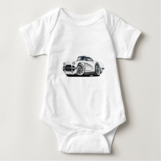 1962 Corvette White Car Baby Bodysuit