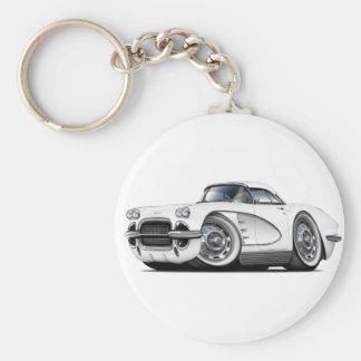 1962 Corvette White Car Keychain