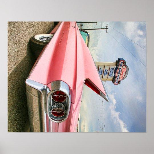 1962 pink cadillac convertible poster
