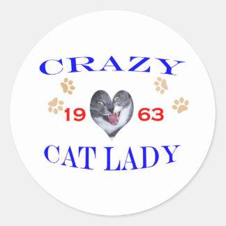 1963 Crazy Cat Lady Classic Round Sticker