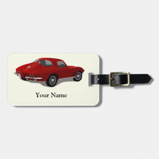1963 Red Corvette Stingray Luggage Tag