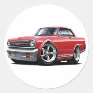 1964-65 Nova Red Car Classic Round Sticker