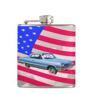 1964 Chevrolet Impala Car And American Flag Flasks