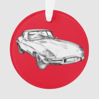 1964 Jaguar XKE Antique Sports Car Illustration Ornament
