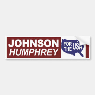 1964 Johnson Humphrey For The USA Bumper Sticker