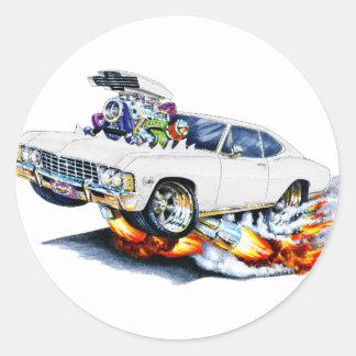 1965-66 Impala White Car Classic Round Sticker