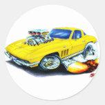 1965 Corvette Yellow Car Round Sticker