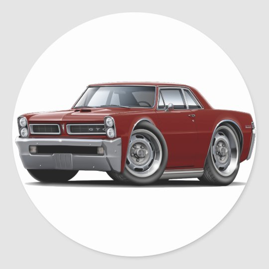 1965 GTO Maroon Car Classic Round Sticker