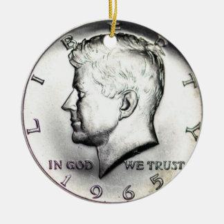 1965 Kennedy Half Dollar Ornament. Round Ceramic Ornament